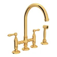 rohl kitchen faucet breakfast bar faucets com italian san julio 1 2 gpm bridge with two lever metal handles includes sidespray