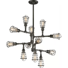 Conduit 12 Light Chandelier With Wire Cages Troy Lighting F3817