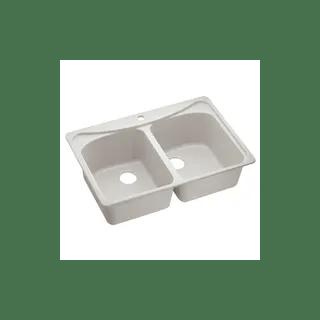 ivory double basin granite kitchen sink