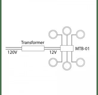 WAC Lighting MTB-01 Black 6 Output Wiring Terminal Block
