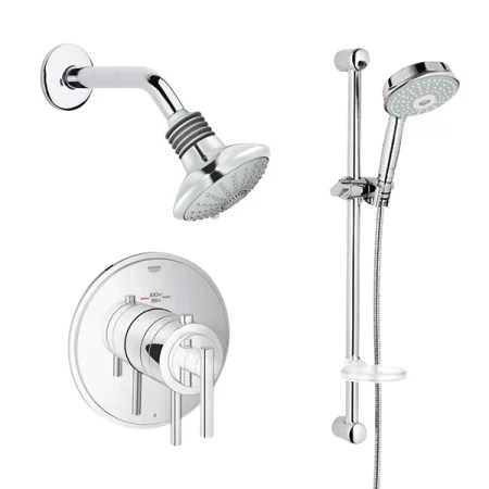 Grohe GRFLXT301 Starlight Chrome Timeless Thermostatic Shower System MultiFunction Shower Head