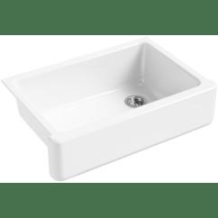 Single Bowl Cast Iron Kitchen Sink Renovation Cost Calculator Kohler K 5827 0 White Whitehaven 33 Basin Apron Front Under A Large Image Of The