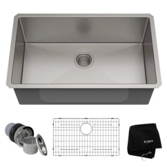 Kitchen Sink Rack Rags Kraus Khu100 30 Stainless Steel Single Basin 16 Gauge A Large Image Of The