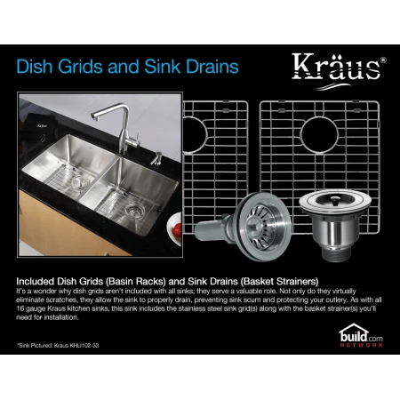 kraus kitchen sinks white oak cabinets khu103 33 kpf1612 ksd30 sink build com a large image of the