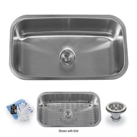 single bowl stainless kitchen sink industrial backsplash miseno mss3219c 16 gauge steel 32 undermount basin a large image of the
