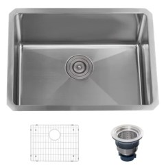 Single Bowl Stainless Kitchen Sink Camp Box Plans Miseno Mno162318sr 16 Gauge Steel 23 Undermount A Large Image Of The Mss2318sr