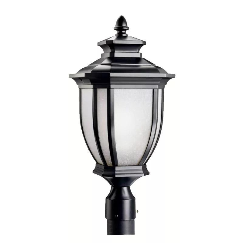 https www lightingdirect com kichler 9938 salisbury single light 22 tall outdoor post light with linen glass panels p845472