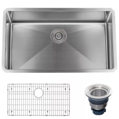 30 Kitchen Sink 6 Ft Island Miseno Mno163018sr 16 Gauge Stainless Steel Undermount Single Basin Drain Assembly And Fitted Rack Included Free Faucet Com