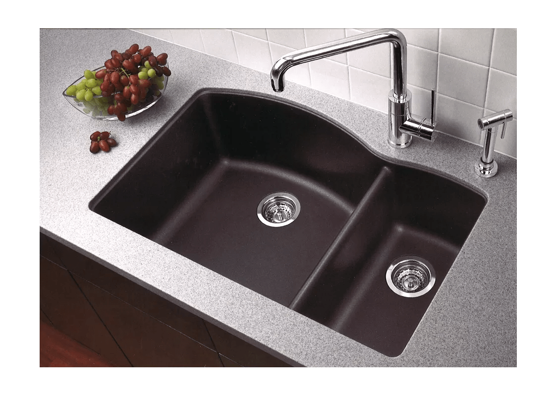blanco kitchen sink concrete countertops 440179 anthracite diamond 32 silgranit granite composite undermount double bowl with 60 40 split faucet com