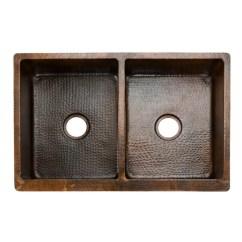 Oil Rubbed Bronze Kitchen Sink Car Premier Copper Products Ksp2 Ka50db33229 33 50 Double Basin Farmhouse With Pull Down Faucet 2 Drain Assemblies