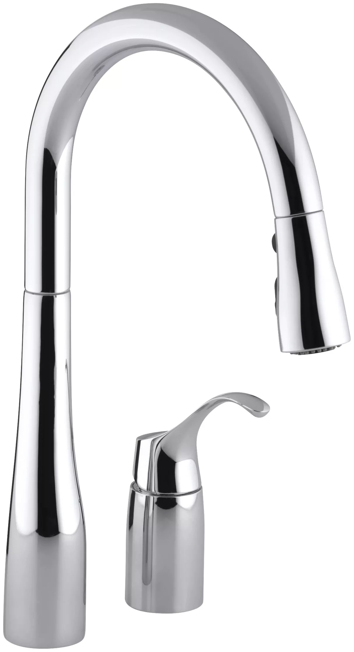 kohler kitchen faucet ninja system pulse bl201 k 647 cp polished chrome simplice two hole sink with 16 1 8 pull down swing spout docknetik magnetic docking