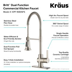 Kitchen Faucet Spout Ikea Oak Cabinets Kraus Kpf 1690sfs Spot Free Stainless Britt Pull Down Spray With Dual Function Sprayer And High Arc Escutcheon Included Com