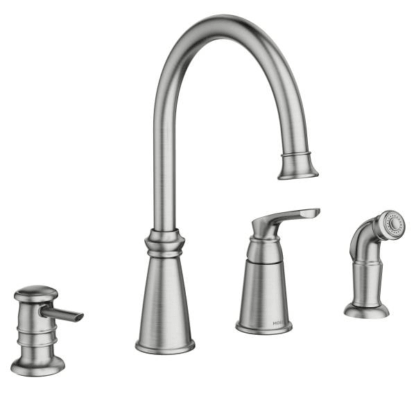 moen kitchen sink faucets high end brands 87044srs spot resist stainless whitmore single handle arch faucet with side spray and soap dispenser com