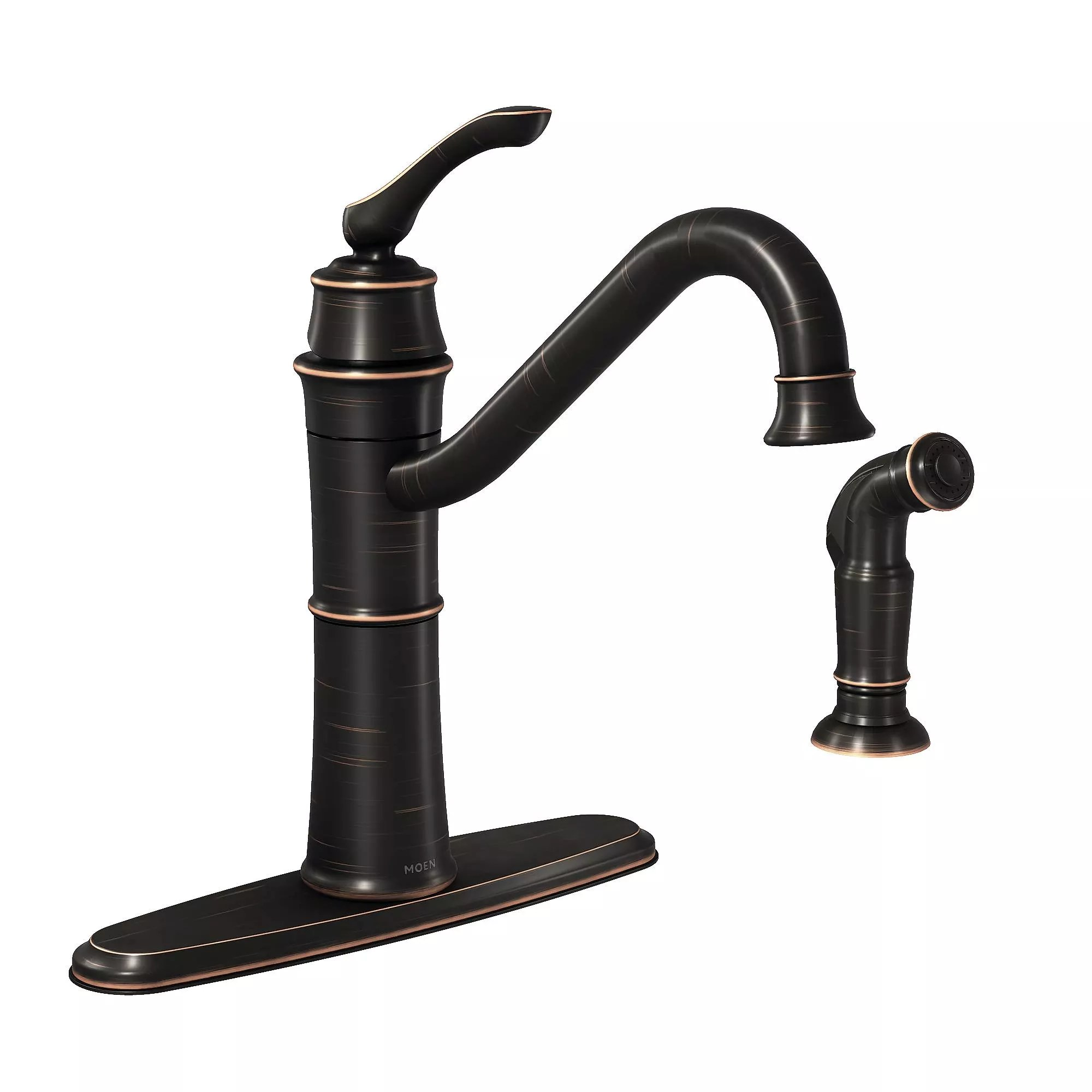 moen kitchen sink faucets suite deals 87999brb mediterranean bronze high arc faucet with side spray from the wetherly collection com