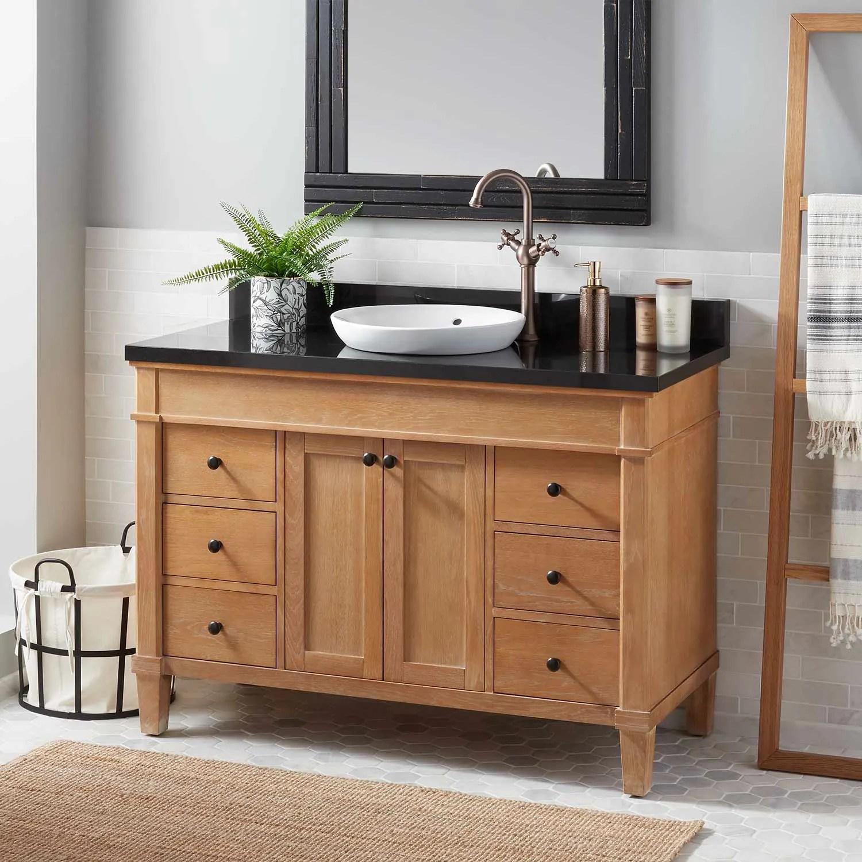 vanity set with solid oak wood cabinet