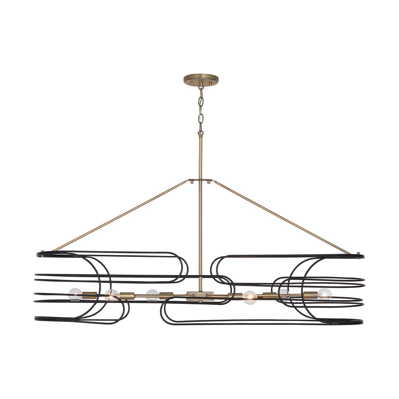 Capital Lighting Brass Black Arlo 6 Light 46 W