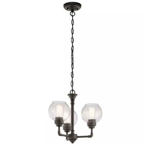 small resolution of kichler 43992oz niles 3 light 16 wide 1 tier shaded chandelier installing new light fixture old wiring including tanglewood 16 light