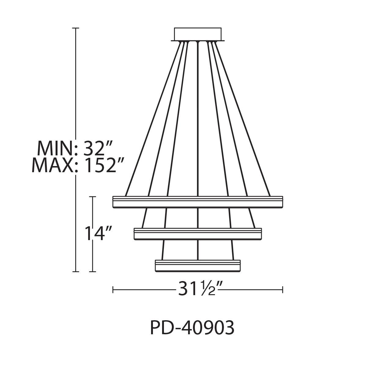 WAC Lighting PD-40903 Black Voyager 3-Light 32