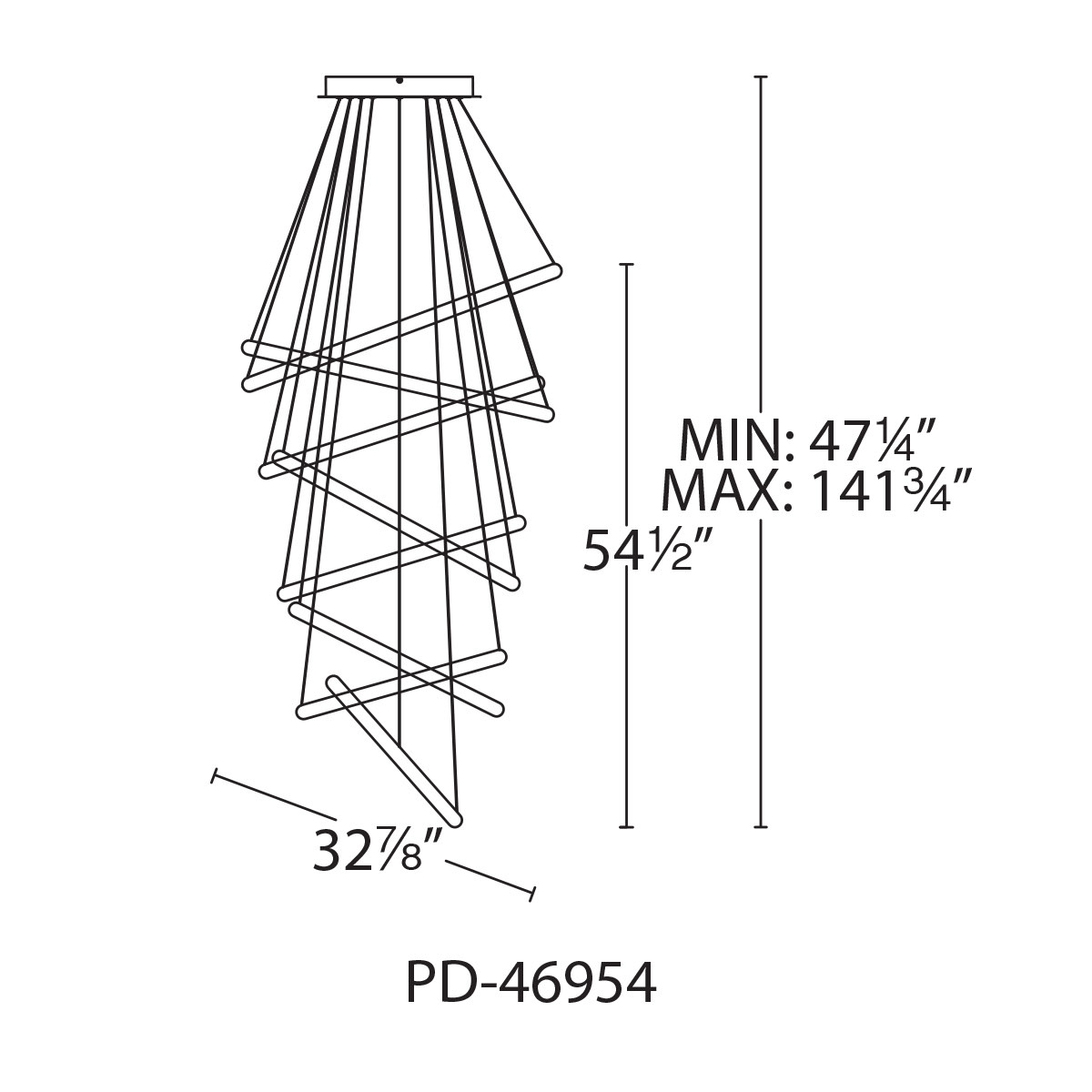 WAC Lighting PD-46954 Chrome Tumbling 8-Light 32