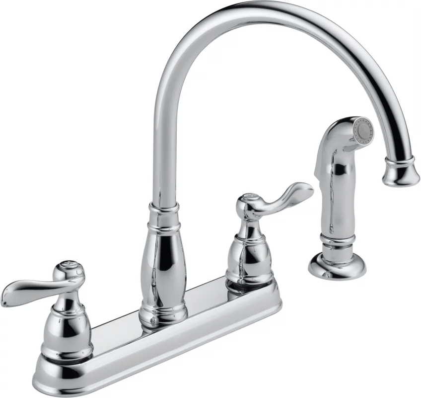 kitchen sink sprayer parts diy refacing cabinets delta 21996lf chrome windemere faucet with side ...