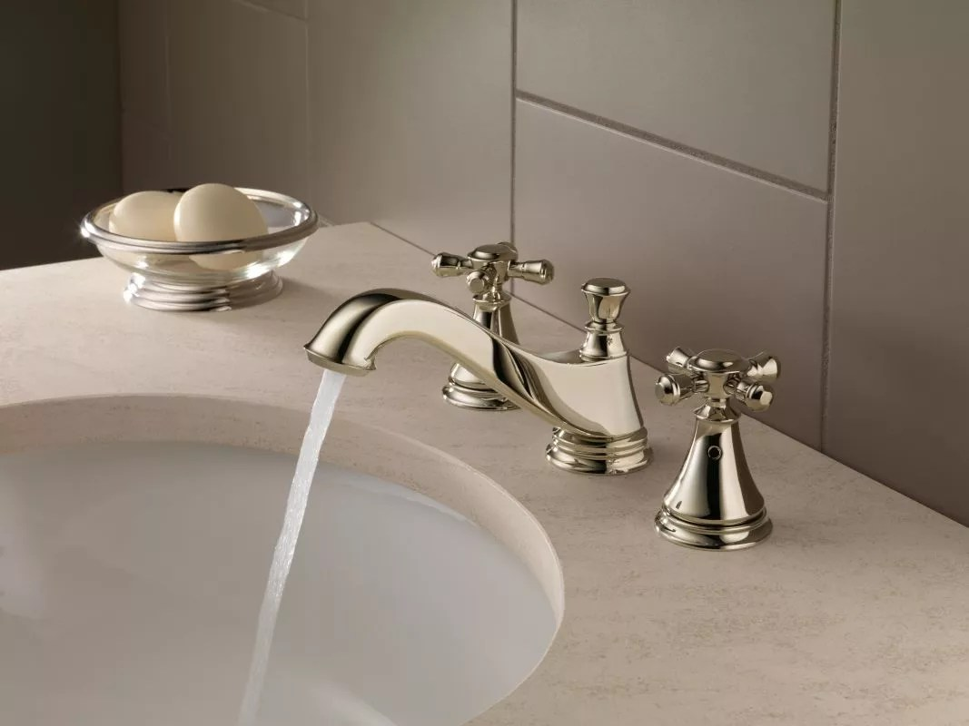 delta h295 running faucet in brilliance polished nickel 552 Polished Nickel Kitchen Faucet
