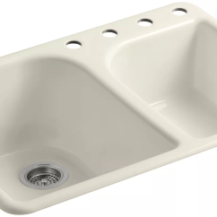Kitchen Sink 33x19 Handles And Knobs Kohler K 5932 4 47 Almond Executive Chef 33 Quot Double Basin