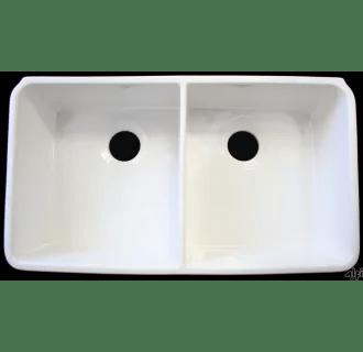 ALFI Brand AB512 W White 32 Inch Double Bowl Fireclay Farmhouse Kitchen Sink With 175 Inch Lip