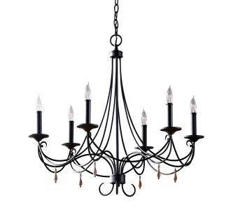 Feiss F2746/6RI Rustic Iron Aliya 6 Light Single Tier