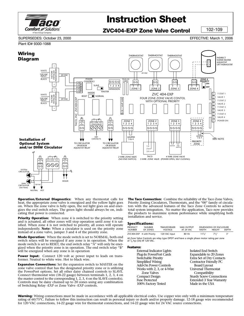 medium resolution of zvc404 exp zone valve control manualzz com taco zvc404 exp wiring diagram