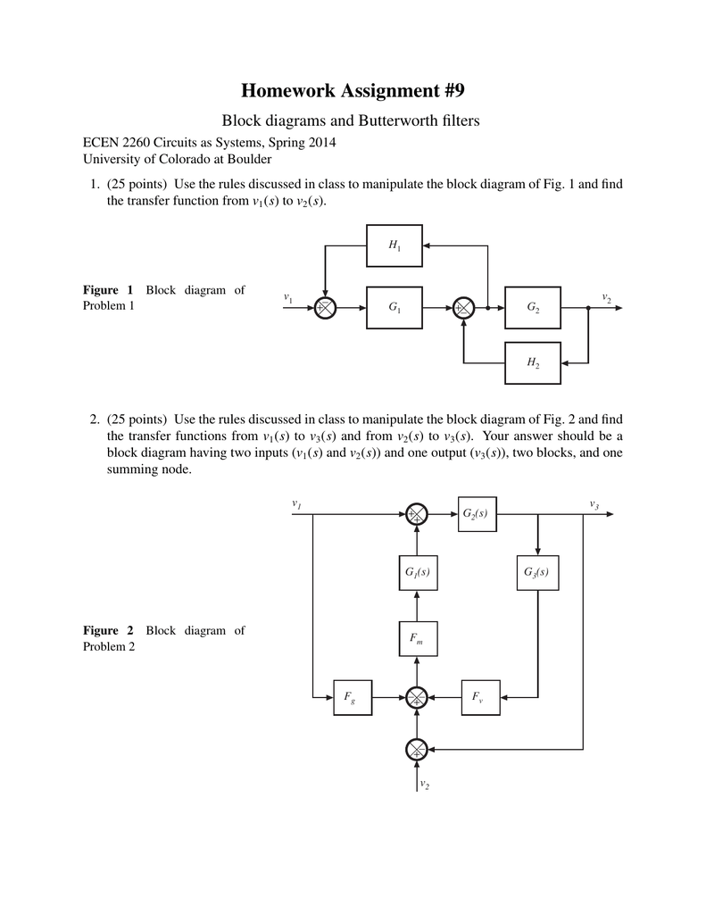 medium resolution of homework assignment 9 block diagrams and butterworth filters