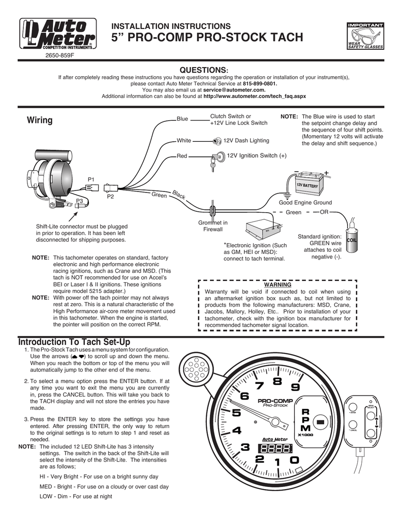 medium resolution of 5 u201d pro comp pro stock tach wiring installation instructions5 u201d pro comp pro