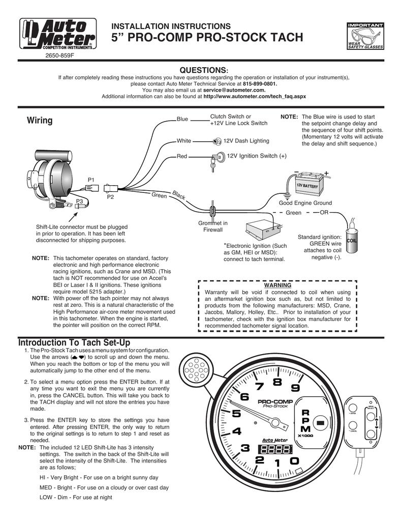 hight resolution of 5 u201d pro comp pro stock tach wiring installation instructions5 u201d pro comp pro