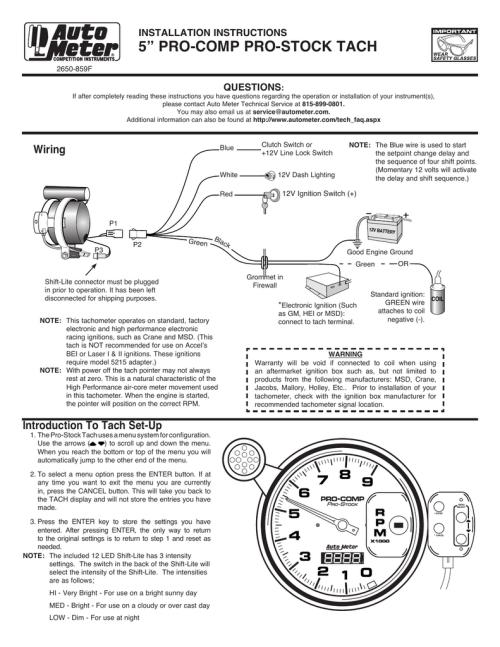 small resolution of 5 u201d pro comp pro stock tach wiring installation instructions5 u201d pro comp pro