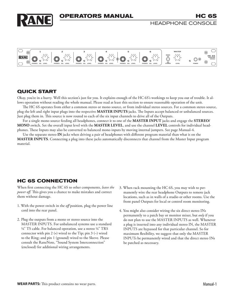 hight resolution of hc 6s operators manual headphone console quick start