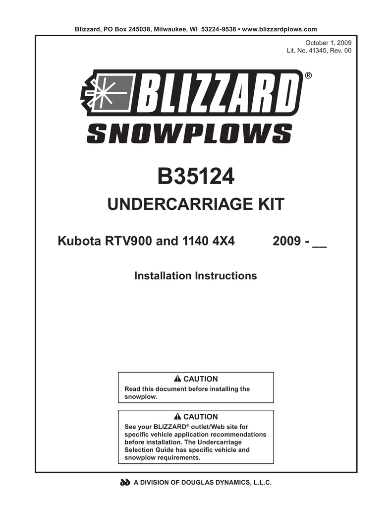 B35124 09+ Kubota RTV900 and RTV 1140 4x4 Blizzard plow