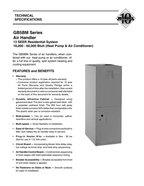 small resolution of nordyne b5bm furnace wiring diagram simple wiring diagramsgb5bm series air handler manualzz com york furnace wiring
