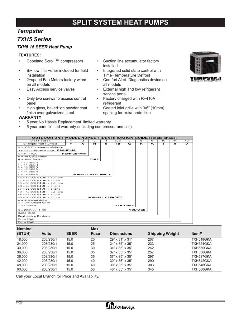 SPLIT SYSTEM HEAT PUMPS Tempstar TXH5 Series TXH5 15 SEER
