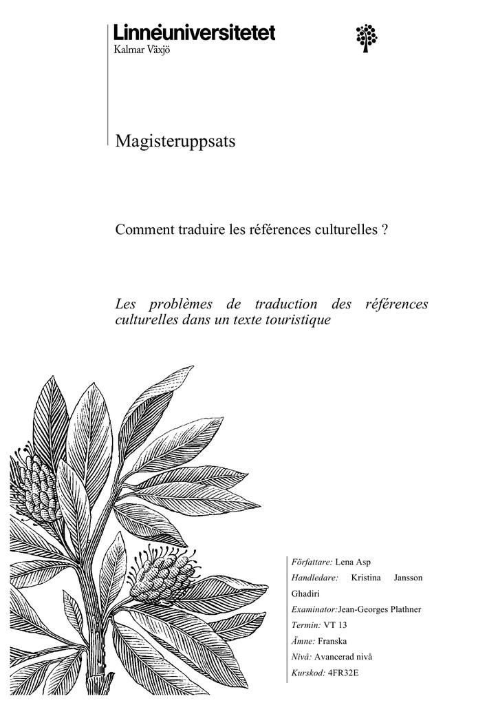 Magisteruppsats Comment traduire les références