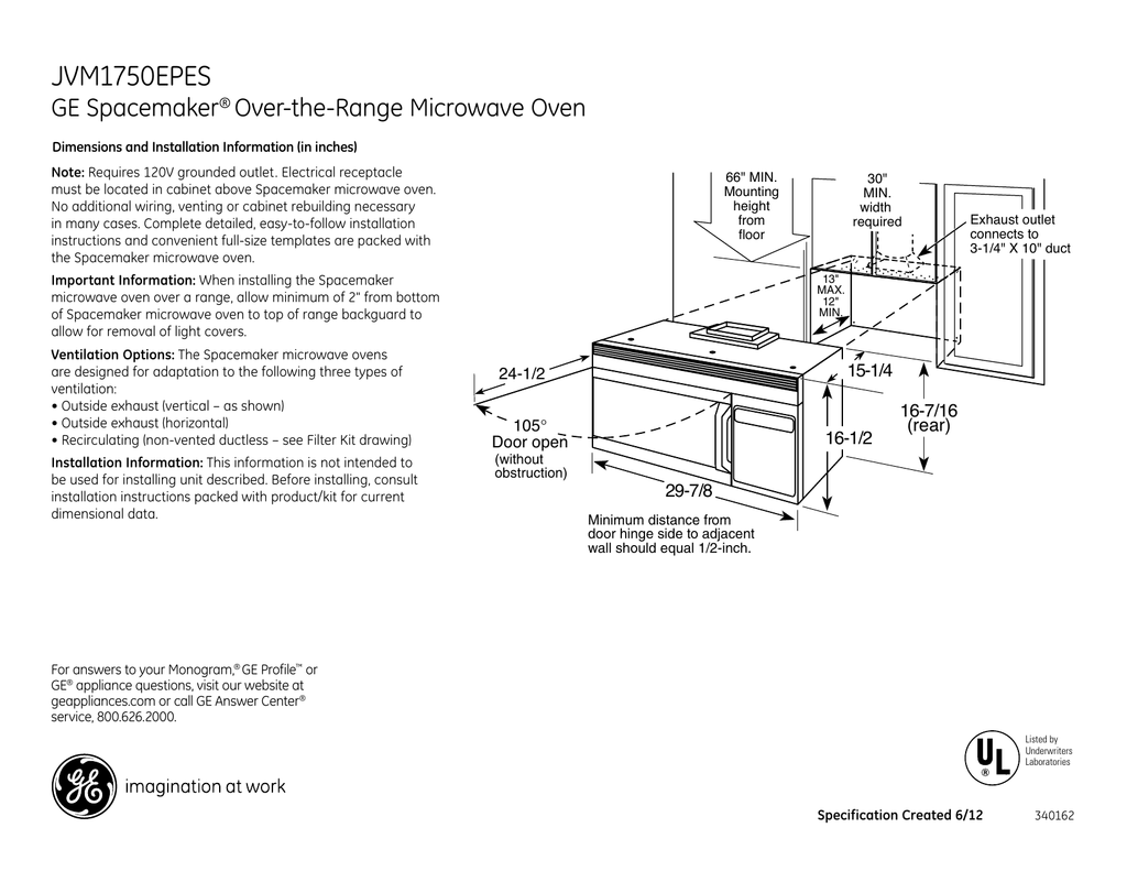 range microwave oven dimensions