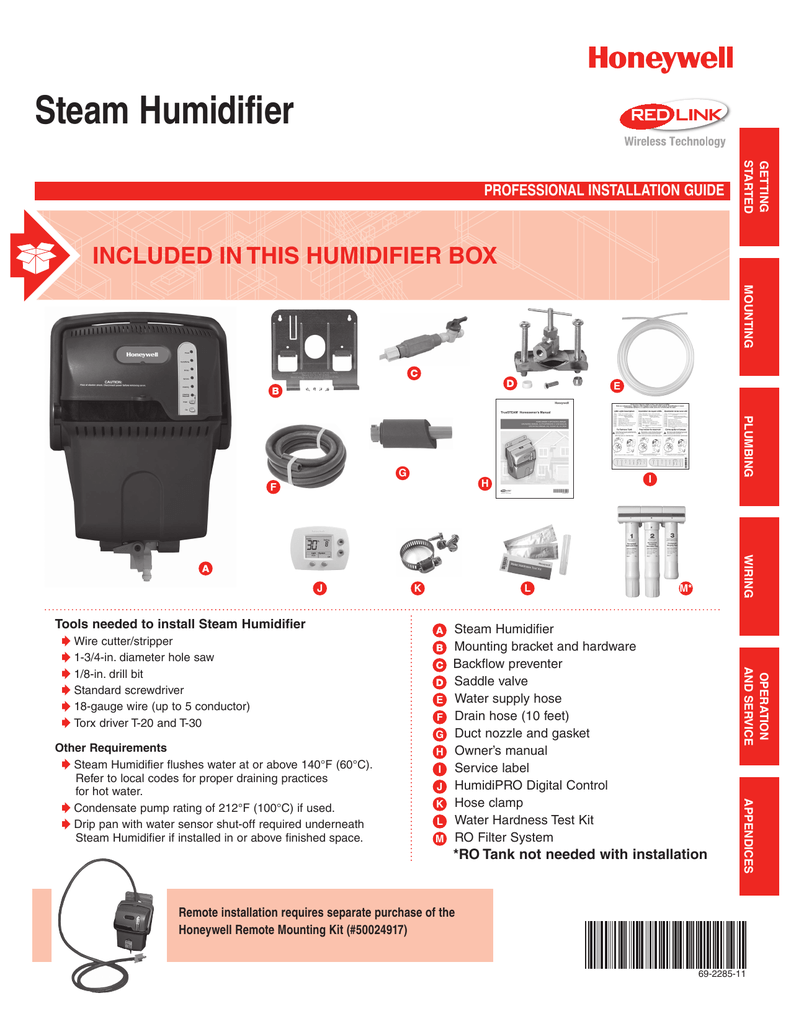 medium resolution of steam humidifier included in this humidifier box professional installation guide