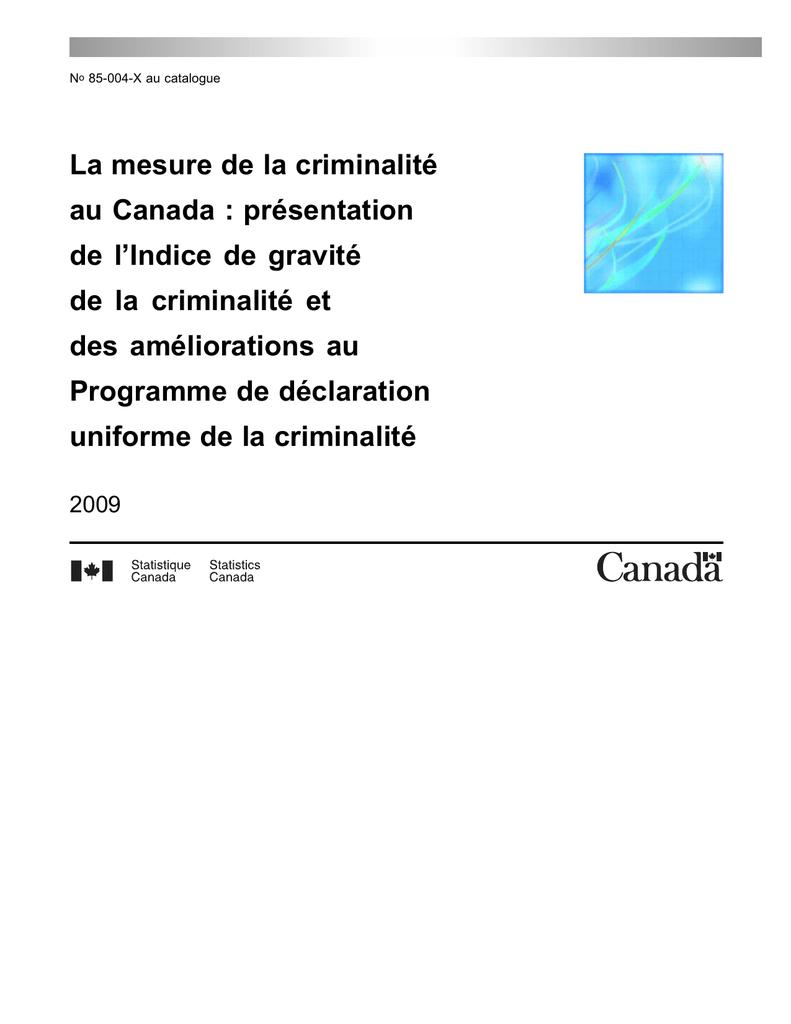 La mesure de la criminalité au Canada : présentation