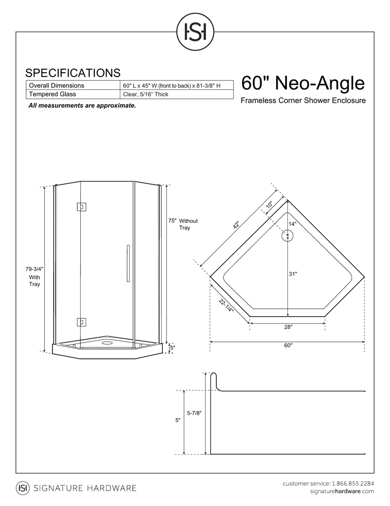hight resolution of 60 34 neo angle specifications frameless corner shower enclosure overall dimensions