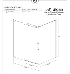 58 34 sloan specifications corner shower enclosure with arched front [ 791 x 1024 Pixel ]