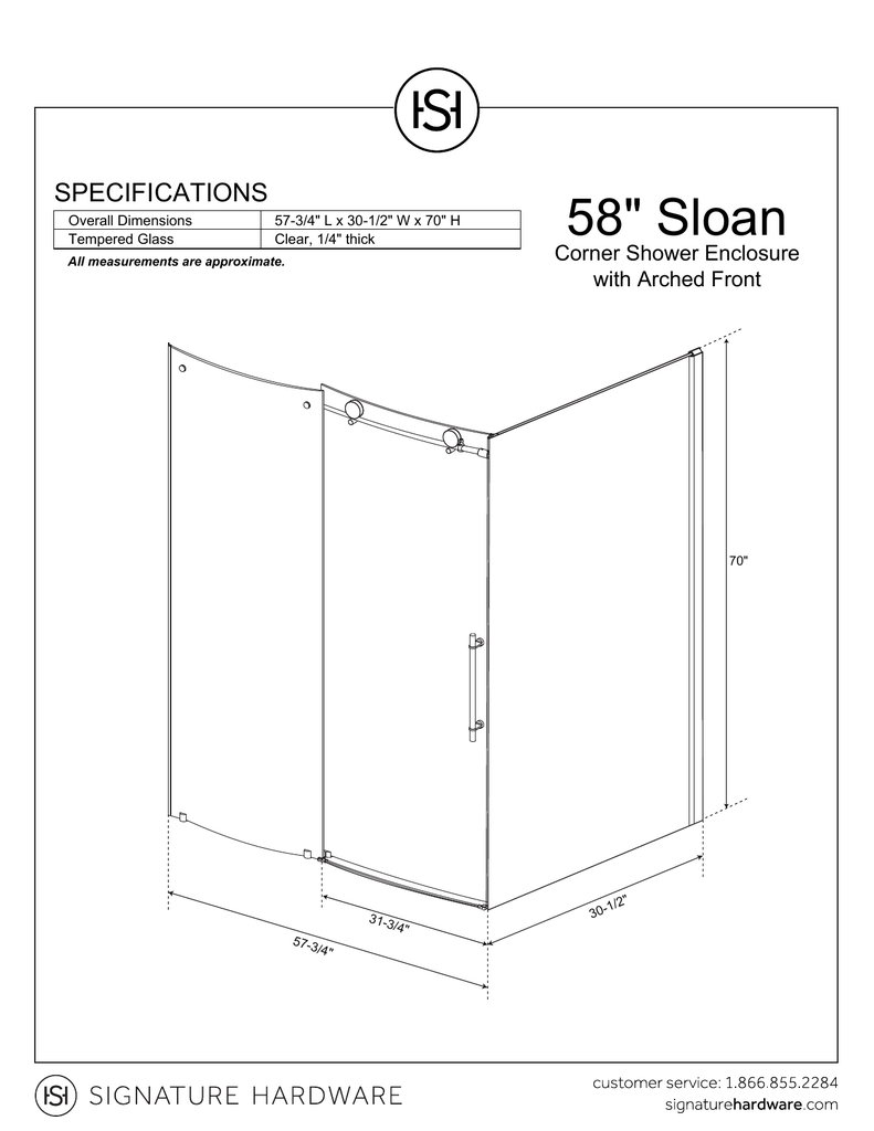 medium resolution of 58 34 sloan specifications corner shower enclosure with arched front