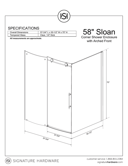 small resolution of 58 34 sloan specifications corner shower enclosure with arched front