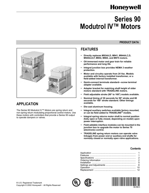 small resolution of series 90 modutrol iv motors product data features directly replaces m934a d m941 m944a c d m945a d f m954 m965 and m975 motors