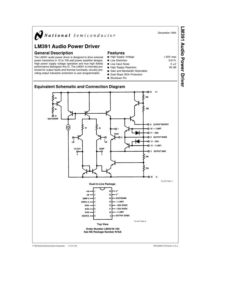 medium resolution of lm391 audio power driver lm391 audio power