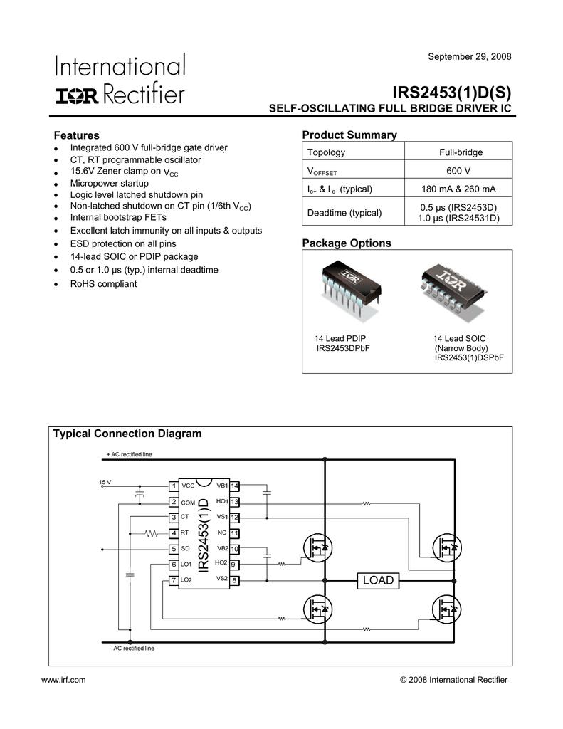medium resolution of irs2453 1 d s self oscillating full bridge driver ic product summary