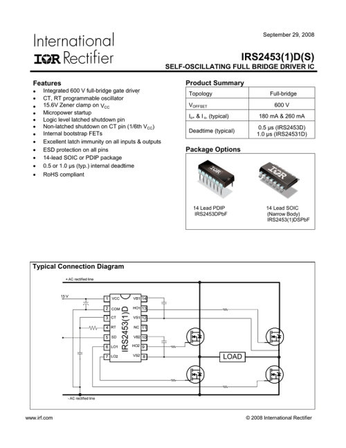 small resolution of irs2453 1 d s self oscillating full bridge driver ic product summary