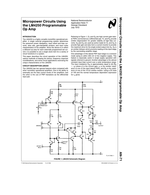 small resolution of micropower circuits using the lm4250 programmable op amp micropower